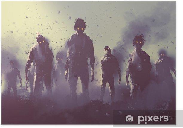 Poster Zombie folla che cammina di notte, concetto halloween, illustrazione pittura - Hobby e Tempo Libero