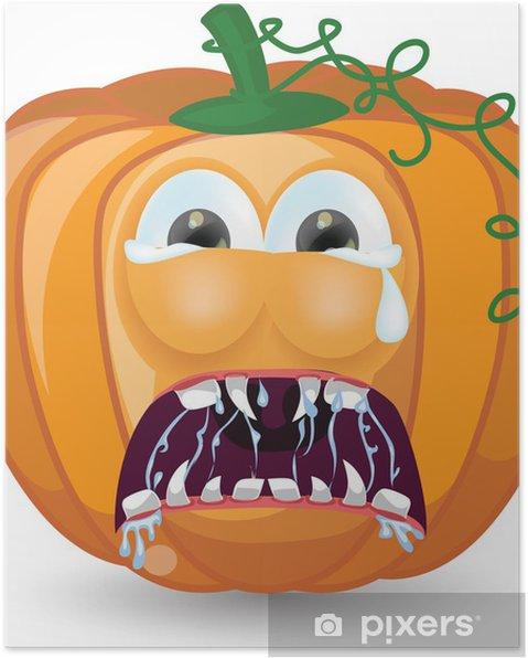 Zucche Di Halloween Cartoni Animati.Poster Zucca Di Cartone Animato Per Halloween
