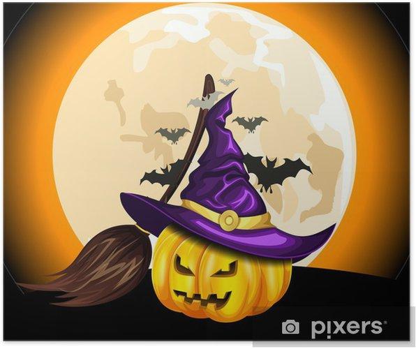 Poster Zucca di Halloween e cappello da strega su sfondo della luna - Feste  Internazionali 0d414f3afdbe