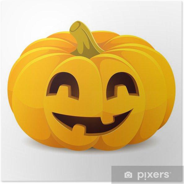Poster Zucca di Halloween. Smiling Jack-O -Lantern su uno sfondo bianco 9d9d51f1968c