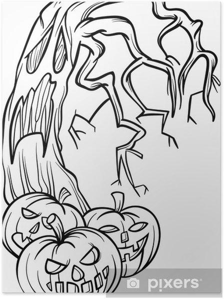 Zucche Di Halloween Cartoni Animati.Poster Zucche Di Halloween Con Albero Di Cartone Animato