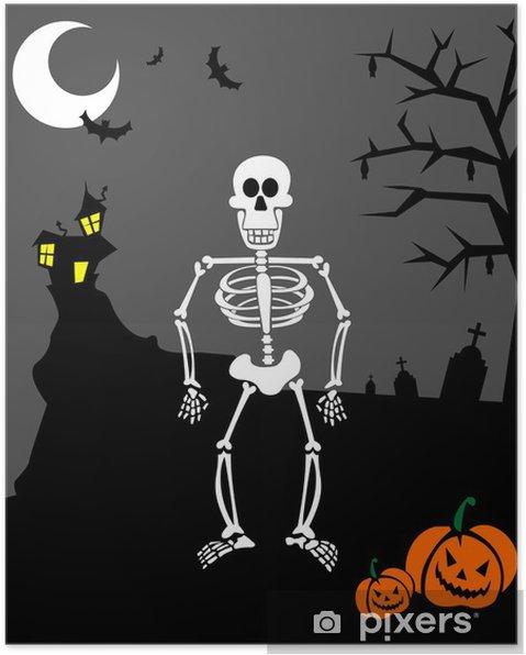 Poster Zucche di Halloween e scheletro. sfondo spaventoso - Feste  Internazionali 59933ff934bd