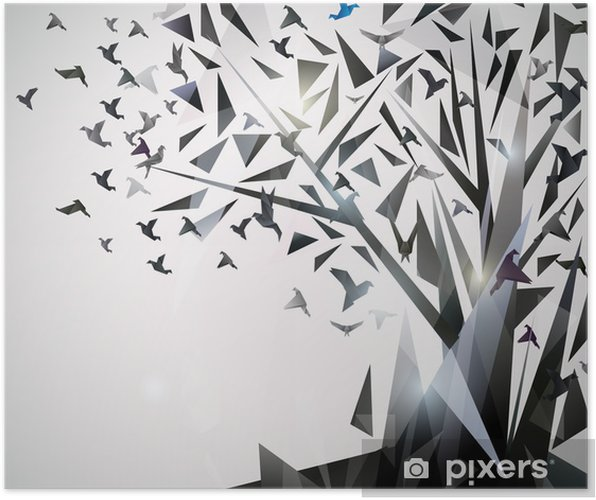 Póster Abstract Tree with origami birds. - Temas
