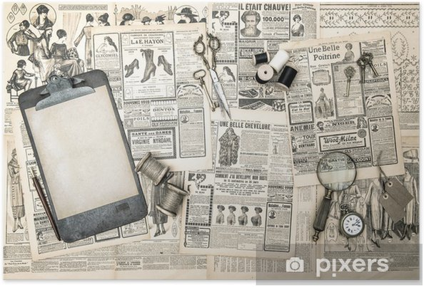 Póster antique office accessories, sewing and writing tools - Texturas