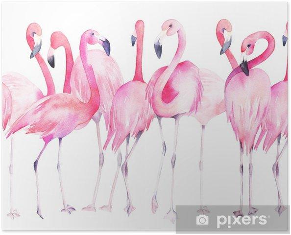 Póster Aquarela Padrão Sem Emenda Com Flamingo Exótico Decoração De Verão Imprimir Para Embrulho Papel De Parede Tecido