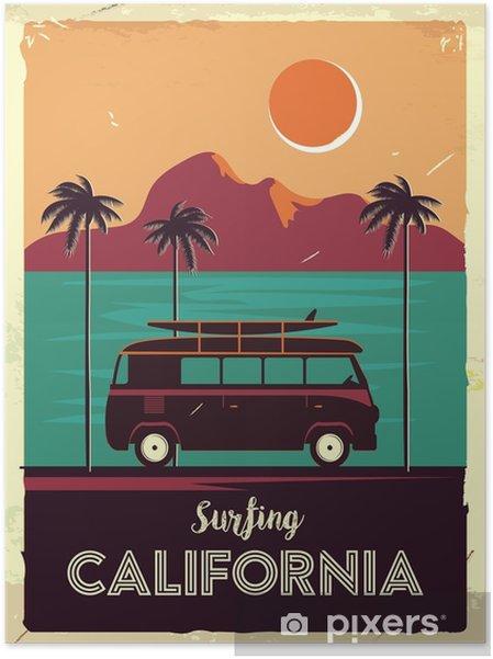 Póster Autoadesivo Sinal de metal retrô grunge com palmeiras e van. surfando na califórnia. cartaz de publicidade vintage. design antiquado - Paisagens