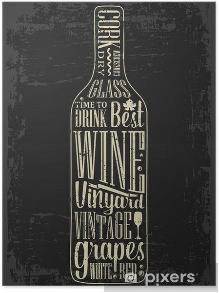 Póster Autoadesivo Tipografia cartaz lettering texto em garrafa silhueta Wine. ilustração vetorial vindima. design de publicidade para o pub no fundo escuro - Bebidas