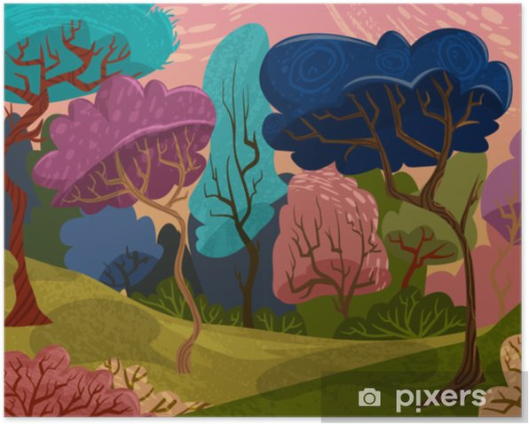 Poster Belas Arvores Na Floresta Magica Paisagem De Verao