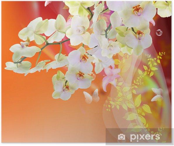 Póster Bloom Spring beautiful Japanese Exotic Flowers.Floral Card - Temas