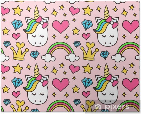 Póster Bonito Unicórnio Conceito De Princesa Padrão De Beleza Menina Sem Costura Isolado No Fundo Rosa Design De Desenho Animado De Vetores Magia
