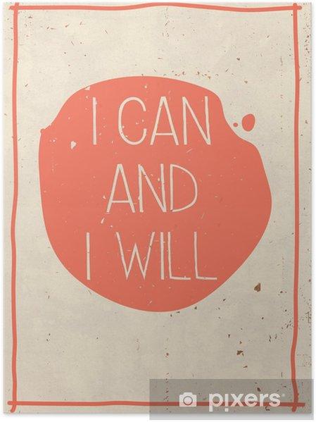 Póster Cartaz com citações escrito à mão, fundo alaranjado do grunge - Negócios