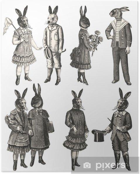 Póster Children with animal head - Crianças