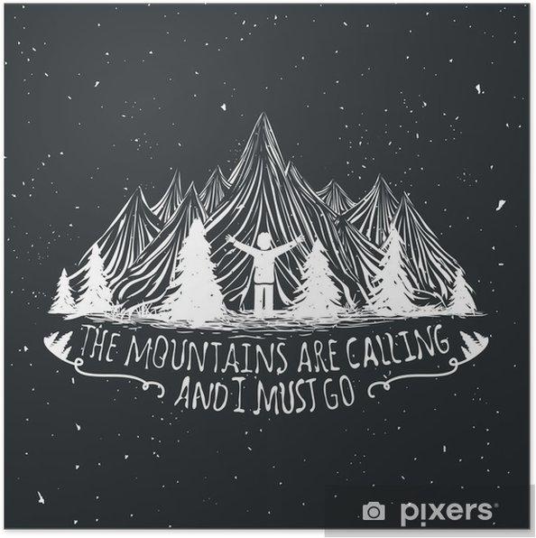 Póster Citação Vector deserto poster com a silhueta do homem, montanhas e da floresta - Paisagens