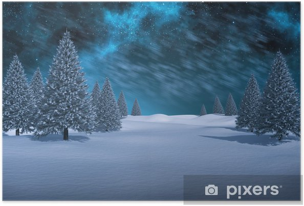 Póster Composite image of white snowy landscape with fir trees - Feriados