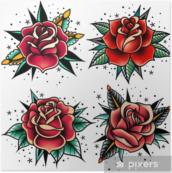 Póster Conjunto De Rosas De Tatuagem Old School