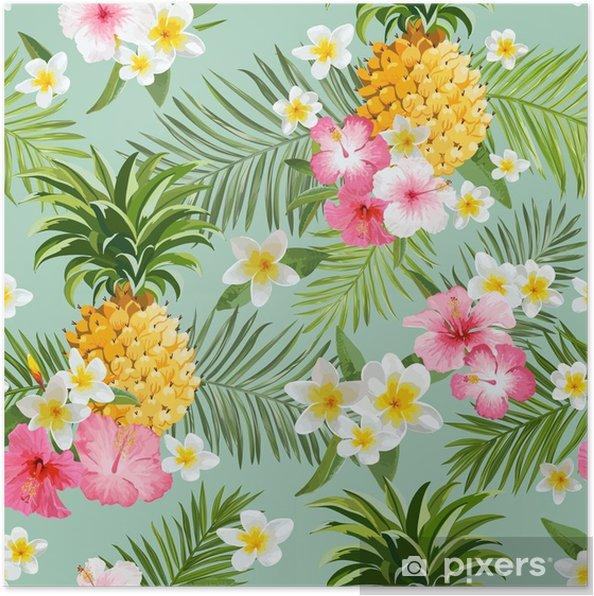 Póster Flores Tropicais E Fundo De Abacaxi Padrão Sem Costura Vintage