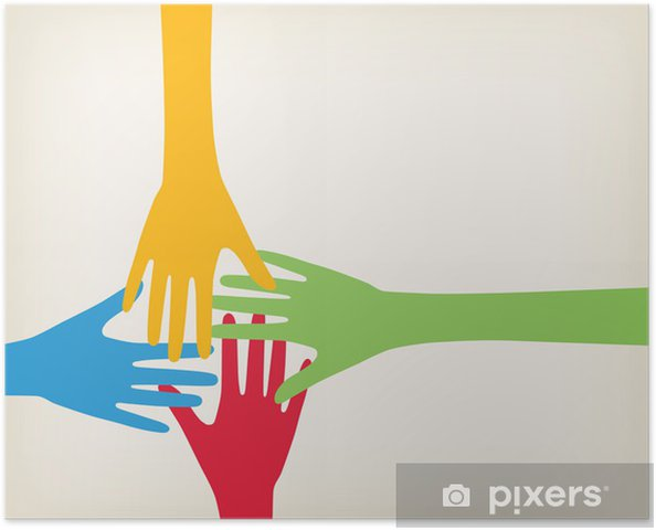 Póster Hands connecting - Conceitos de Negócios
