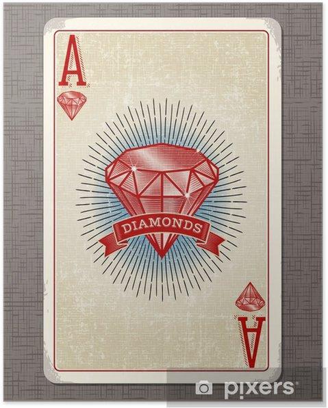 Póster Ilustração do vetor do cartão de jogo do vintage do ás de ouros - Hobbies e Lazer