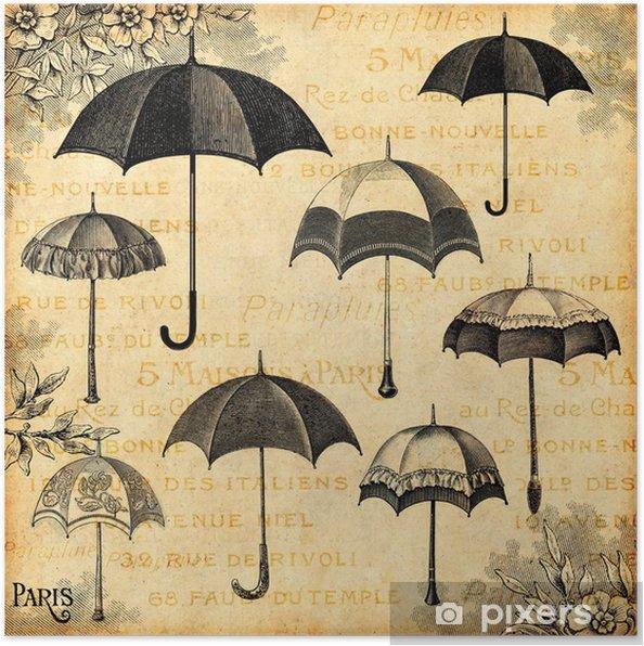 Póster Les parapluies - Fashion/ moda