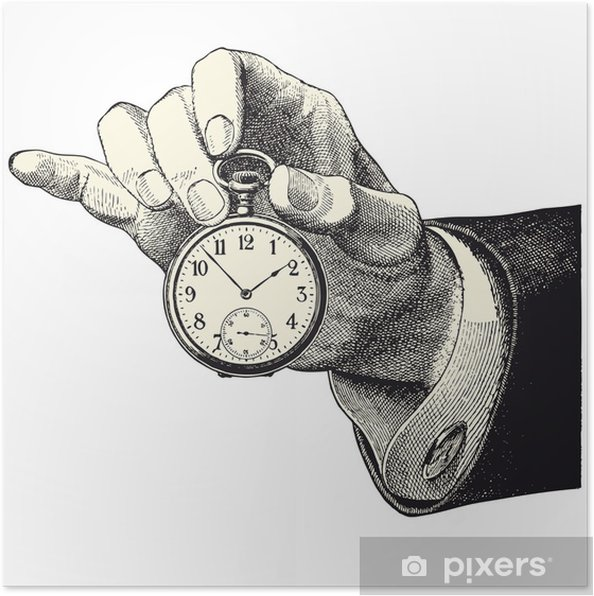 Póster Main d'homme tenant une montre - Relógios