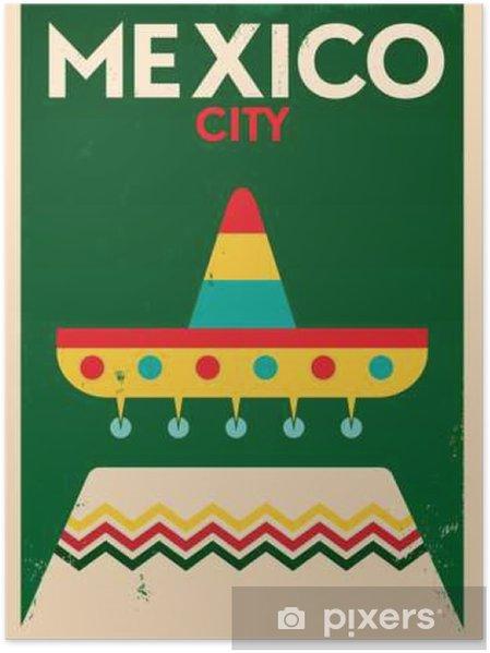 Póster México Design Cartaz do vintage - Construções e Arquitetura