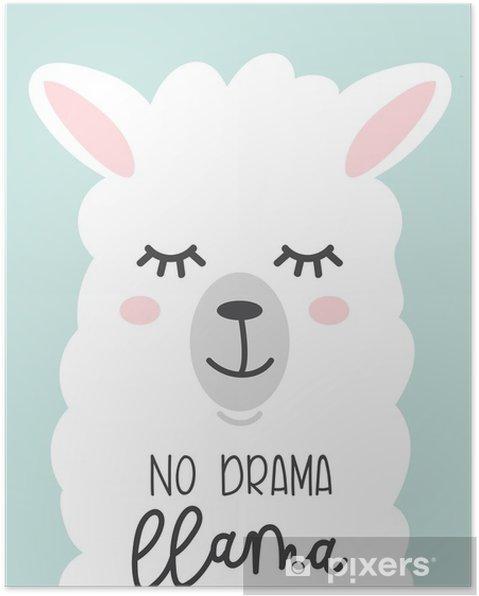 Póster Nenhum Cartão Bonito De Lema Dramático Com Lama Dos Desenhos Animados Sem Sugestões Motivacionais E Inspiradoras Desenho De Chamas Bonito Com