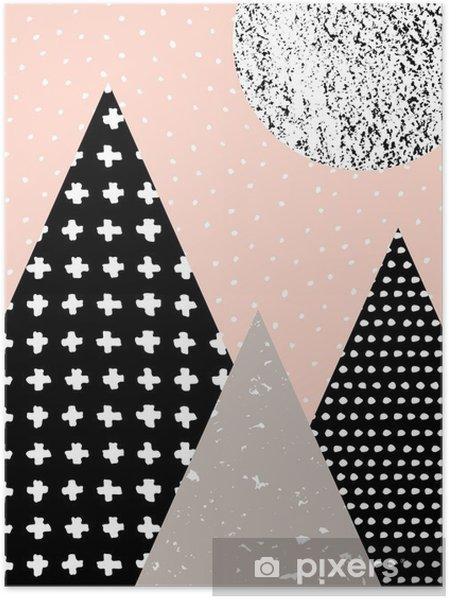Póster Paisagem abstrata geométrica - Recursos Gráficos