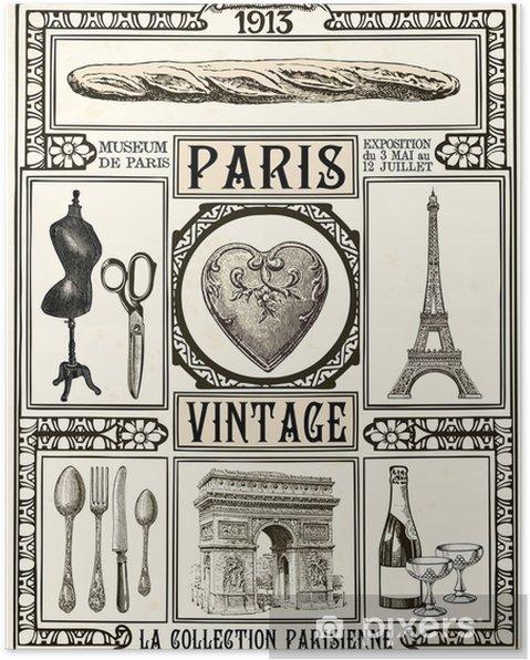 Póster Poster Paris Vintage - Viagens