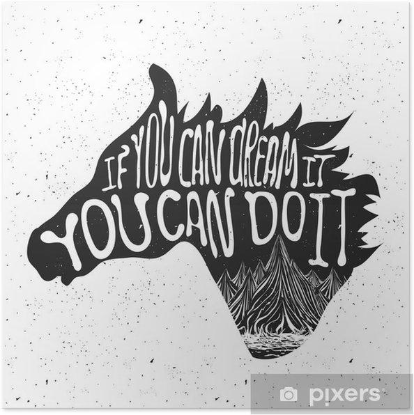 Póster Poster Tipografia com a silhueta da cabeça de cavalo e montanhas - Animais