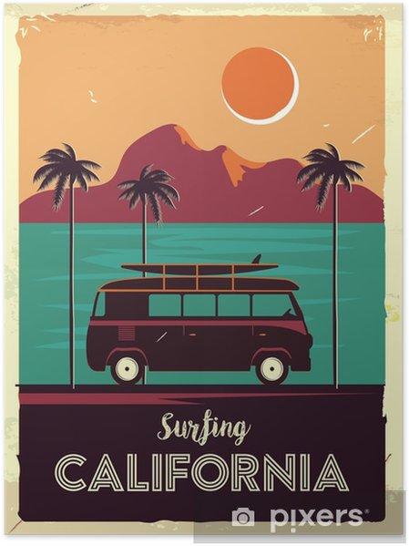 Póster Sinal de metal retrô grunge com palmeiras e van. surfando na califórnia. cartaz de publicidade vintage. design antiquado - Paisagens