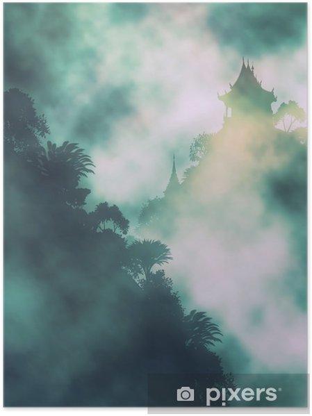 Póster Templo da montanha místico - Paisagens