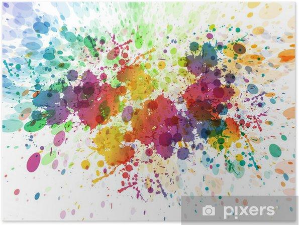 Póster Versão raster de fundo colorido abstrato do respingo - Hobbies e Lazer