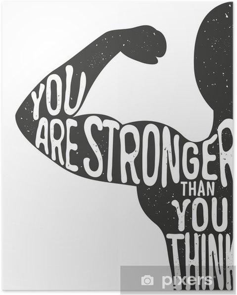 Póster Você é mais forte do que pensa. Lettering cartaz tipográfico vintage. ilustração vetorial inspirador e inspirado, silhueta homem e citação. clube de fitness e modelo de publicidade musculação. - Desportos