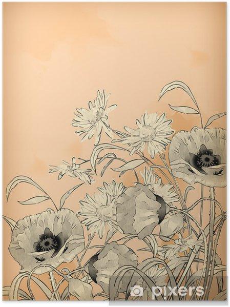 Póster Watercolor Pencil Hand Drawing Flowers - Arte e criação