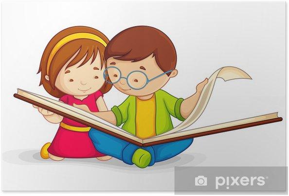 Açık Kitap Katta Oturan Okuma çocuk Vektör çizim Poster Pixers