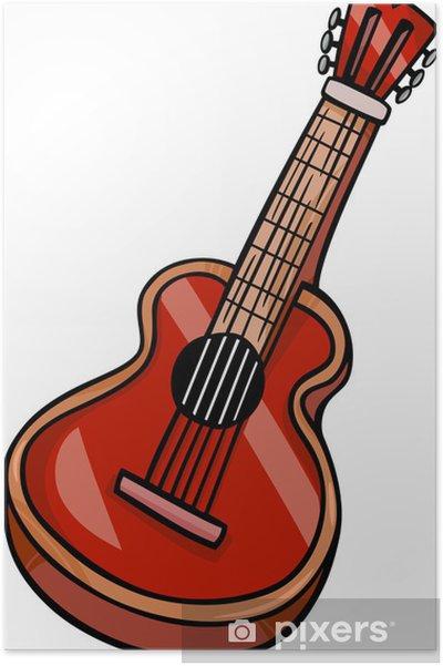 Akustik Gitar Karikatür Poster Pixers Haydi Dünyanızı Değiştirelim