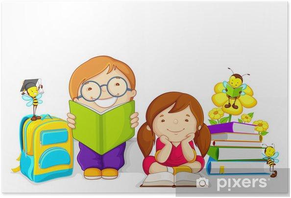 Arı Ile Kitap Okuyan çocuklar Vektör çizim Poster Pixers Haydi