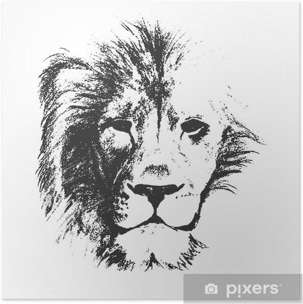 Aslan Kafası Elle çizilmiş Vektör çizim Poster Pixers Haydi
