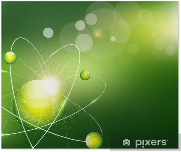 Atom Ile Vektör Yeşil Arka Plan Poster Pixers Haydi Dünyanızı