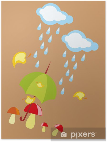Bebek çizim Yağmurlu Bir Sonbahar Mantar Ve şemsiye Poster