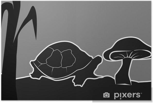 Bir Mantar Yakın Kaplumbağa çizimi Poster Pixers Haydi