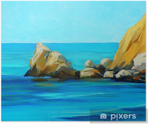 Bir Plaj Ve Bay Boyama B Akdeniz Deniz Manzara Poster Pixers