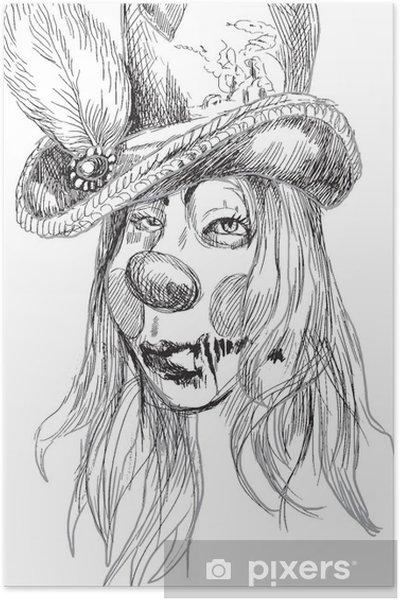 Poster Bir Undead (zombi, korkutucu palyaço ...) Portresi, el çizimi - Ezoterik