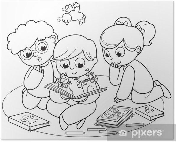 Birlikte Bir Pop Up Kitap Okuma Arkadaslar Cizime Boyama Poster