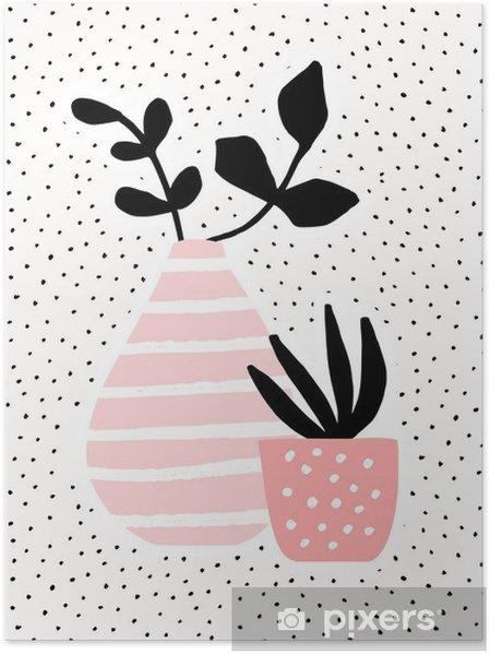Poster Bitkiler Pembe Vazo ve Pot - Çiçek ve bitkiler
