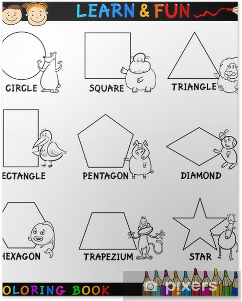 Boyama Için Hayvanlar Temel şekiller Poster Pixers Haydi