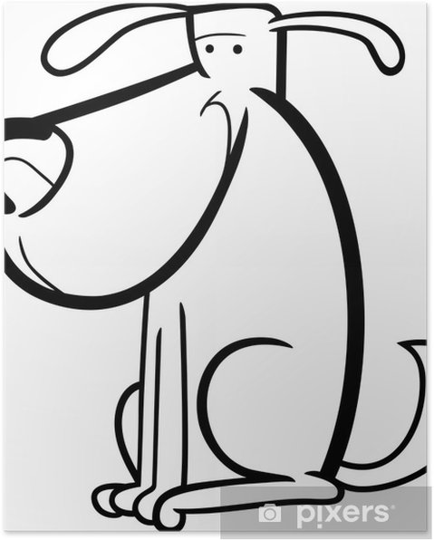 Boyama Için Sevimli Köpek Karikatür Doodle Poster Pixers Haydi