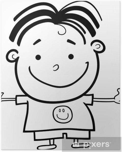 Boyama Için Sevimli Küçük Happy Boy Poster Pixers Haydi