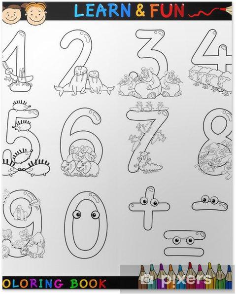 Boyama Karikatür Hayvan Sayıları Poster Pixers Haydi Dünyanızı