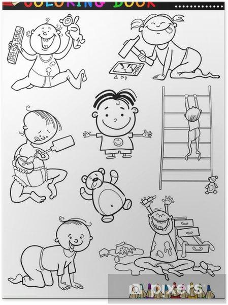 Boyama Karikatür Sevimli Bebekler Poster Pixers Haydi Dünyanızı